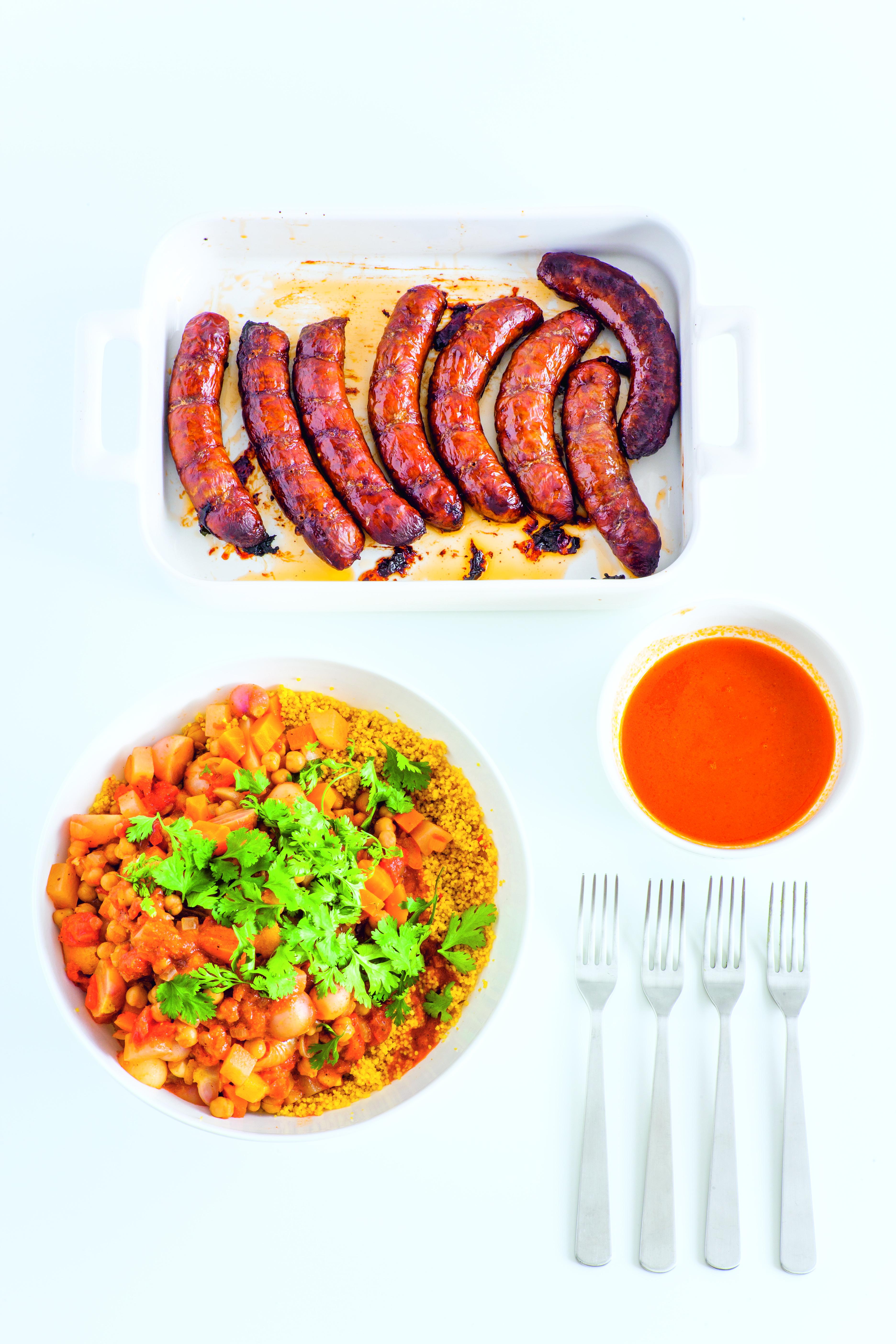 Gemüse-Couscous, Merguez aus dem Buch Sunday Meal Prep
