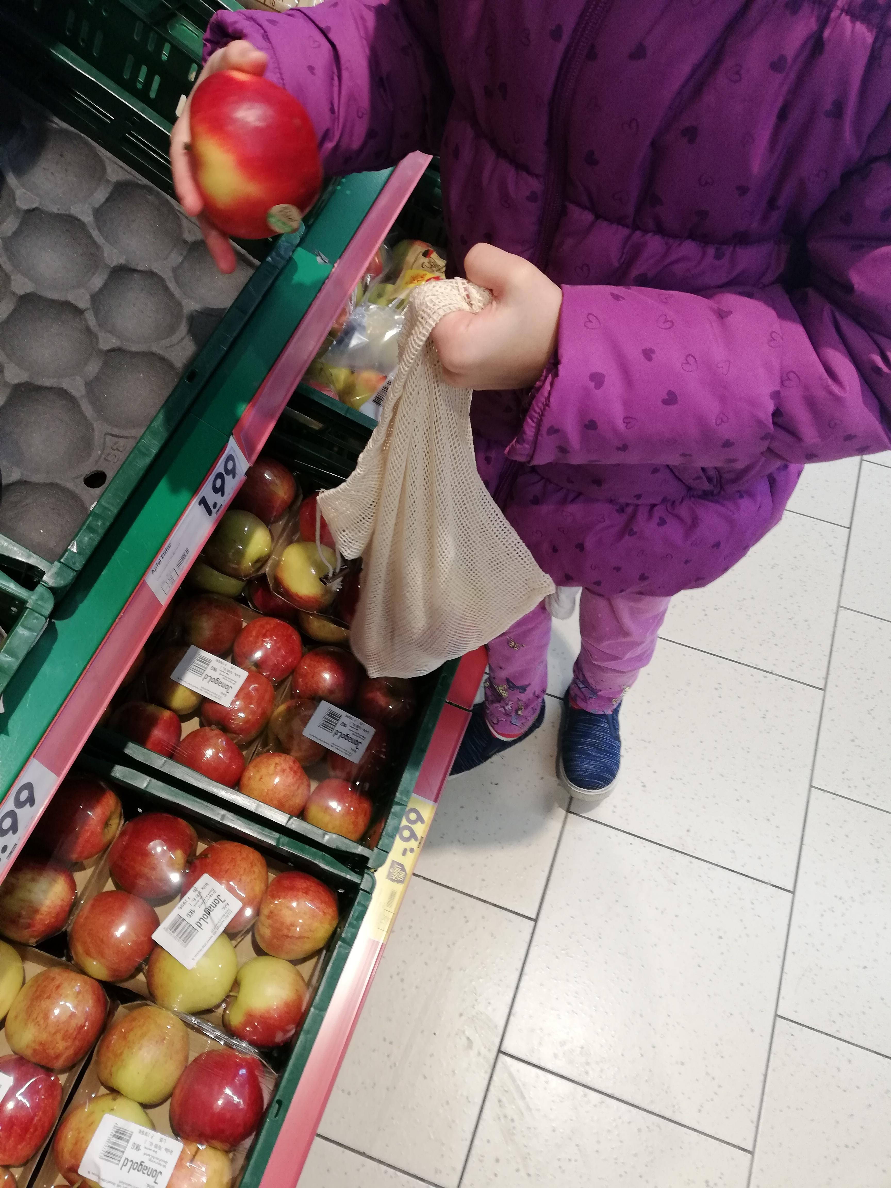 Umweltfreundliche Obst und Gemüsebeutel aus Baumwolle